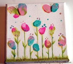 painting created with acrylic paint, india ink pens, finger & thumb prints!  Great activity to do with your kids!