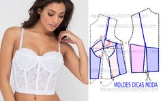 Carefully analyze the design of the transformation of the mold of this white bodice. This step is important to understand the transformation process . Corset Sewing Pattern, Bra Pattern, Dress Sewing Patterns, Clothing Patterns, Underwear Pattern, Lingerie Patterns, Sewing Lingerie, Fashion Sewing, Diy Fashion