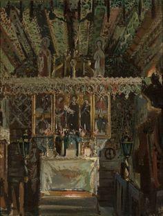 Wnętrze kościoła w Dębnie - Leon Wyczółkowski