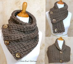 Crochet Scarf, 3 Button scarf, Wrap cowl, Dallas Dreams Scarf, Taupe 3 Coconut Buttons Scarf, Shoulder Warp, Taupe scarf