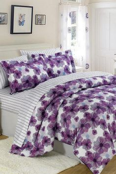 Add this elegant and incredibly soft comforter to any bed to make counting sheep a thing of the past. Whether updating the master bedroom or a guest room, this bedding set is sure to warm up décor. Floral Comforter, Comforter Sets, Purple Bedding Sets, White Bedding, Boudoir, Purple Interior, Purple Home, Bed In A Bag, Bed Sets