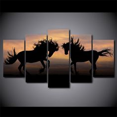 5 Piece Galloping Black Horses Silhouette Sunset Modern Print on Canvas Poster 5 Piece Canvas Art, Canvas Artwork, Cool Artwork, Silhouette Painting, Animal Silhouette, Westerns, Black Horses, Canvas Poster, Wall Art Pictures