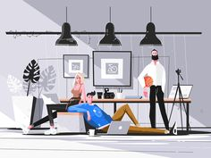 Buy Designers Working in Studio by on GraphicRiver. Designers working in studio vector illustration. Men and woman doing new projects in office. Design Ios, Global Design, Flat Design, Graphic Design, Motion Design, Design Thinking, User Experience Design, Flat Illustration, Science Illustration