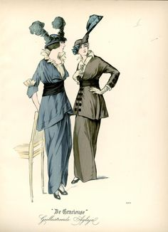 [De Gracieuse] Gekleede tailleur-kostumes March 1914. (Double Yikes!! And it's yet another fashion whim I'm glad I missed.LC)