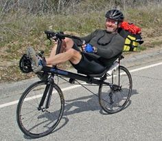It always gives me a grin when I see someone on a recumbant bicycle :)