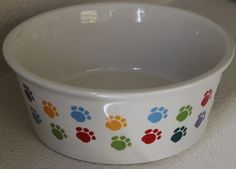 Fido's Diner Stoneware Dog Dish - Large Dish X - With Paw Prints on Outside and Inside of Bowl * Learn more by visiting the image link. (This is an affiliate link and I receive a commission for the sales) Small Dogs For Sale, Dog Treadmill, Elevated Dog Bowls, Stainless Steel Dog Bowls, Dog Stroller, Dog Shock Collar, Food Stands, Yellow Cat, Dog Pin