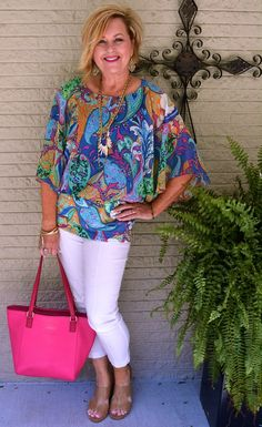 50 IS NOT OLD | HOW TO WEAR A COLORFUL TOP | Bright colors | Summer outfit | White Pants | Fashion over 40 for the everyday woman