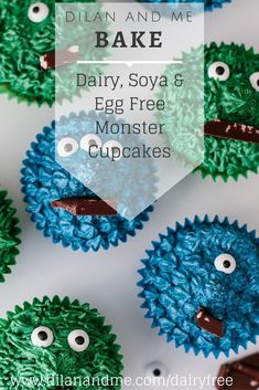 Dairy, Soya and Egg Free Monster Cupcakes - www.dilanandme.com - Super easy to create and so much fun! A great recipe for baking with toddlers plus these cupcakes are vegan! Great for kids with food allergies