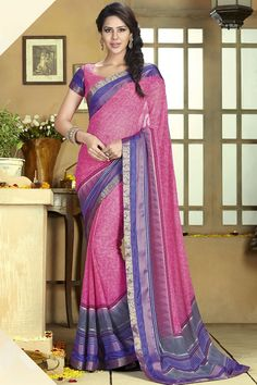 Pink Designer Printed Party Wear Saree With Blouse At Skysarees.