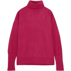 Maison Margiela Suede-paneled ribbed wool-blend turtleneck sweater (60.785 RUB) ❤ liked on Polyvore featuring tops, sweaters, pink, pink sweater, short-sleeve turtleneck sweaters, oversized sweater, oversized slouchy sweater and ribbed turtleneck sweater