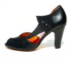 Remix Vintage Shoes, Eva D'orsay Peep Toe Heels in Black Leather