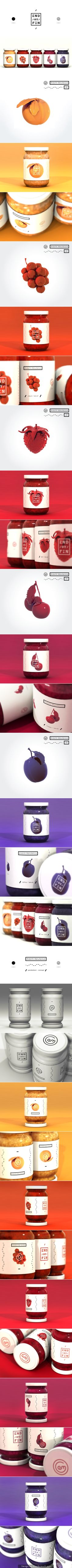 END / OR / FIN - Jam packaging on Behance by Kiss József Gergely curated by Packaging Diva PD. Been looking for the source on this great pin a long time and now I found it. Fruit Packaging, Cool Packaging, Bottle Packaging, Brand Packaging, Design Packaging, Product Packaging, Bottle Labels, Graphic Design Branding, Label Design