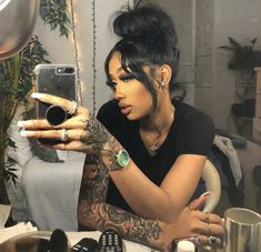 Find images and videos about cute and baddie on We Heart It - the app to get lost in what you love. Baddie Hairstyles, Black Girls Hairstyles, Pretty Hairstyles, Black Girls With Tattoos, Tattoos For Women, Models With Tattoos, Beauty Makeup, Hair Makeup, Hair Beauty