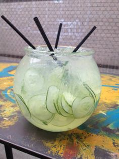 Fresh Cucumber - 9 oz. Jose Cuervo Tequila Silver 1 c. aloe vera juice 1 c. lemon juice 1 c. lime juice 1 c. simple syrup ½ c. orange juice ½ cucumber, sliced Garnish: cucumber slices