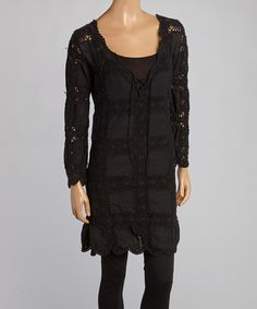 Another great find on #zulily! Black Crocheted Bella Peasant Dress - Women by Union of Angels #zulilyfinds