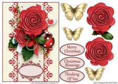 Card Front Christmas Flowers on Craftsuprint designed by Carol James - A Christmas cardfront with some decoupage pieces for that 3d effect. 3 sentiment tags and one blank tag are included. Sentiments read:Merry ChristmasChristmas BlessingsThinking Of You - Now available for download!