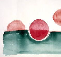 Georgia O'Keeffe. Untitled (Abstraction Green Line and Three Red Circles) 1970s