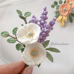 kaniko251様専用ページ(ブローチ2点) | ハンドメイドマーケット minne Crochet Earrings Pattern, Crochet Brooch, Crochet Leaves, Crochet Flowers, Crochet Designs, Crochet Patterns, Crochet Bouquet, Yarn Flowers, Japanese Crochet
