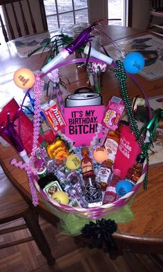 21st birthday basket I want this I love it  SOMEONE MAKE THIS FOR ME. Next July :)) please.