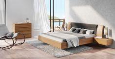 Ebern Designs Massivholzbett Ranieri, 180 x 200 cm Oak Bed Frame, Oak Beds, Chest Of Drawers, Home Bedroom, Solid Oak, Storage Spaces, Furniture Design, New Homes, Interior Design