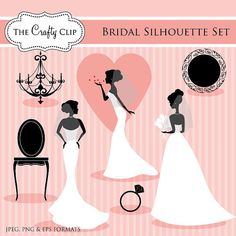 Bridal Silhouette Set by TheCraftyClip on Etsy, $5.95