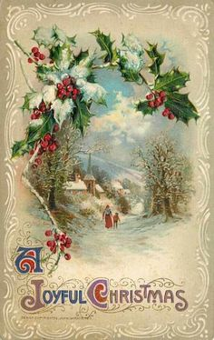 Vintage Christmas Card. My Grandmother saved many of these. I used to love looking through them.                                                                                                                                                                                 More