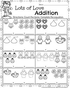 Arbeitsblätter für Mathematik und Alphabetisierung im Kindergarten für Februar - คณิตศาสตร์ - Kindergarten Addition Worksheets, Kindergarten Math Worksheets, Printable Math Worksheets, Preschool Math, Math Classroom, In Kindergarten, Measurement Worksheets, Subtraction Kindergarten, Preschool Alphabet