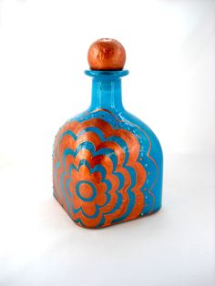 Decanter Hand Painted Glass Bottle Art Copper by skyspirit8studios, $55.00 Tequila Bottles, Bottles And Jars, Patron Bottles, Wine Bottle Crafts, Jar Crafts, Painted Glass Bottles, Summer Art Projects, Bottle Wall, Altered Bottles