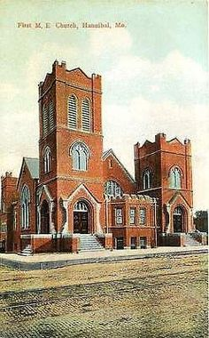 Hannibal Missouri MO 1908 First M E Church Collectible Antique Vintage Postcard