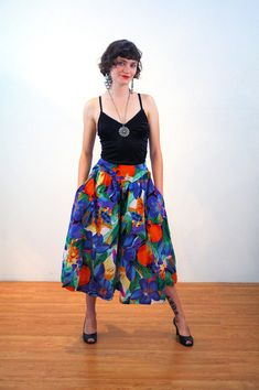 Gytha, 80s Tropical Print Culottes S, Floral Culottes, Wide Pants Skirt, Colorful Boho Pants, Bright Palazzo Pants, Bohemian Culottes, Small