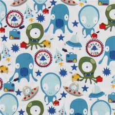 Space aliens baby blanket michael miller galaxy visa for Space baby fabric