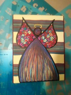 angel painted with acrylic on canvas
