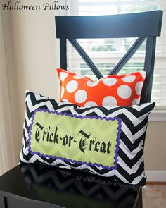 Adorable DIY Halloween pillows made with her Silhouette from Craftaholics Anonymous
