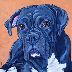 """Shadow the Boxer Dog Custom Pet Portrait Painting in Acrylic on 12"""" x 12"""" Stretched Canvas from Pet Portraits by Bethany."""