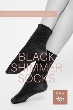 Experience the comfort of sustainable hosiery and dazzle in Lisa shimmery socks! Here are the reasons you'll love her: - 40 denier sparkly socks - Semi sheer - Roll edge cuff - 100% emission free socks - Knitted from recycled yarn Lisa is knitted in our zero-waste, emission free facility in Italy. Composition: 48% recycled polyamide, 46% lurex, 6% elastane. #swedishstockings #blacklurexsocks #australianonlineboutique #shimmerysocksoutfit #blackglittersocks Black Glitter, Black Silver, Sparkly Socks, Knee High Stockings, Scandi Chic, Recycled Yarn, High Knees, Knitting Socks, Toe Nails