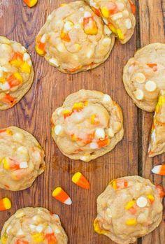 #candycorncookies candy corn and white chocolate softbatch cookies #halloweencookies