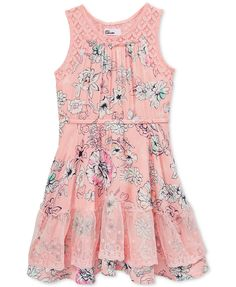 Epic Threads Crochet-Trim Floral-Print Fit & Flare Dress, Toddler & Little Girls (2T-6X), Only at Macy's | macys.com