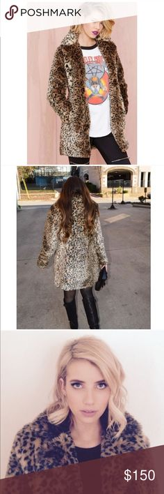 Cat skills NastyGal leopard coat faux fur Worn by Emma Roberts the nastygal cat skills coat will make you look absolutely luxe and fabulous. Nasty Gal Jackets & Coats