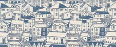 St Ives (211673) - Sanderson Wallpapers - Streets of houses printed in a naïve lino print style.  Shown in the Indigo blue on Ivory white colourway. Wide width, paste the wall. Please request sample for true colour match. $79.21
