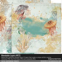Blendable Layers No. 72 artsy collage art with jellyfish in PNG files for easy digital art #designerdigitals