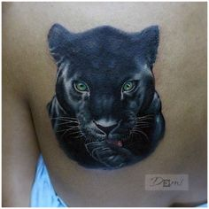 Big Cat Tattoo, Back Tattoo, Leopard Tattoos, Animal Tattoos, Cover Up Tattoos, Body Art Tattoos, Tattoo Indien, Black Panther Tattoo, Panther Tattoos