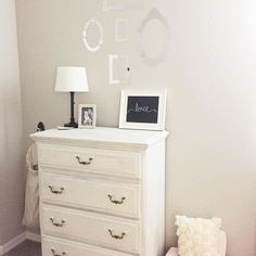 You can never have too much love. {chalk paint used Valspar Her Dainties} by restored_haven Valspar Chalky Paint, Dresser As Nightstand, Chalk Paint, Interior Styling, Sweet Home, Feminine, Nursery, Canning, Living Room