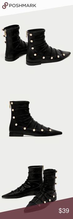 NIB Zara Flat Ankle Boots with Pearls 6/6.5/7.5 NIB Zara Women Flat Ankle Boots with Pearls / Size 6/ Size 6.5/ Size 7.5 Available Zara Shoes