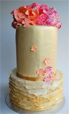 gold frills wedding cake with beautiful sugar flowers from Let it Be Cake