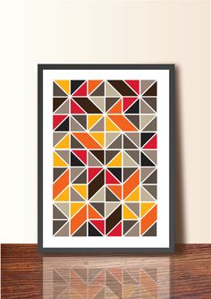 Geometric ABSTRACT ART Tangram. Geometric Poster Print, A3 size, Wall Decor, Mid Century Modern Wall Art, Scandinavian design inspired - Etsy