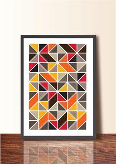 Geometric ABSTRACT ART Tangram. Geometric Poster Print, A3 size, Wall Decor, Mid Century Modern Wall Art, Scandinavian design inspired