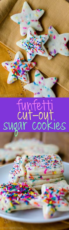 Funfetti Cut-Out Sugar Cookies: No dough chilling necessary for these soft cut-out sugar cookies that are filled with colorful sprinkles and perfect for any occasion. Crisp edges, soft centers, and completely customizable in flavor and shape! via @frshaprilflours