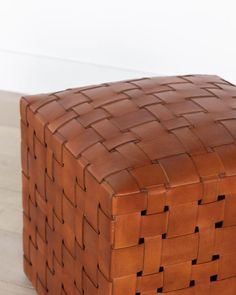 Leather Ottoman, Saddle Leather, Studio Mcgee, Pop Up Shops, Leather Pattern, Resort Style, Extra Seating, Wood Pieces, Antique Furniture