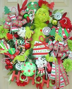 Who Stole Christmas-Grinch Candy Cane Colorful and Full Wreath, Lime, Red, Green, Free shipping