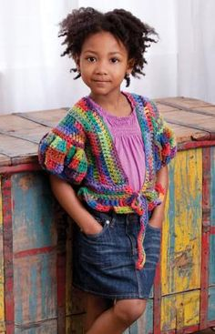 Little Girl's Puffy Sleeve Sweater - Choose a multi-colored yarn and crochet this little fashionista topper. It's perfect over everything from jeans and a turtleneck to a pretty tutu skirt! free pdf from Red Heart